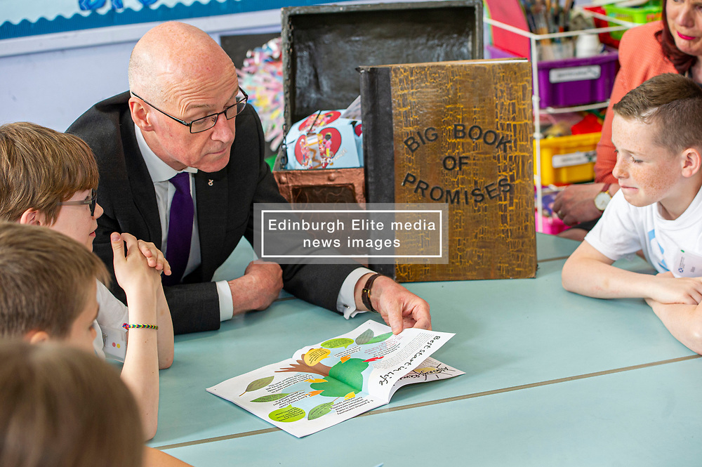 Pictured: John Swinney<br /><br />Deputy First Minister John Swinney headed to Sciennes Primary School in Edinburgh today to launch a public consultation on incorporating the UNCRC into Scots law. The Deputy First Minister had the opportunity to chat to students from primary six and seven during his visit.  Mr Swinney was joined by Councillor Alison Dickie , Vice Convenor of the Child and Families Committee in Edinburgh Council and Lucinda Rivers, Head of UNICEF UK in Scotland<br /><br /><br /> Ger Harley | EEm 23 May 2019