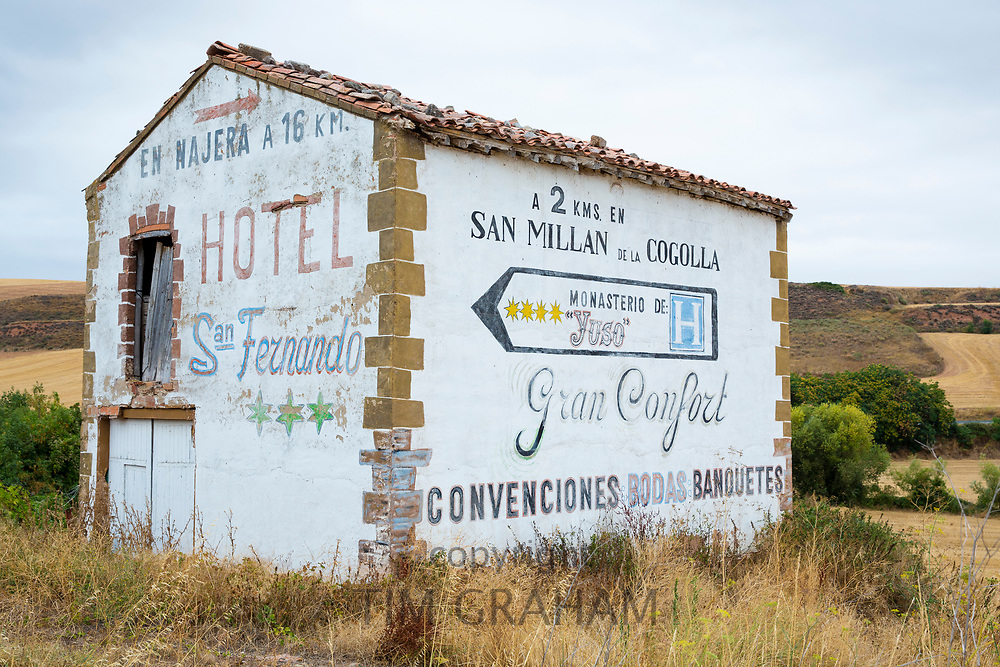 Advertisement for Hotel San Fernando on ancient barn in Basque Country, Spain