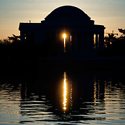 Washington DC--The Jefferson Memorial sits on the southern bank of the Tidal Basin in Washington DC, near the National Mall, and is dedicated to Founding Father Thomas Jefferson (1743-1826). Opened in 1943 and designed by architect John Russell Pope, the Jefferson Memorial sits on an island on the southern bank of the Tidal Basin next to the Potomac and its Washington Channel.