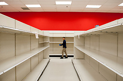 March 16, 2020, USA: A man walks past aisles of empty shelves during these days of the COVID-19 pandemic, at the Target store in Alexandria, Va., Monday, March16, 2020. Credit: Rod Lamkey / CNP (Credit Image: © Rod Lamkey/CNP via ZUMA Wire)