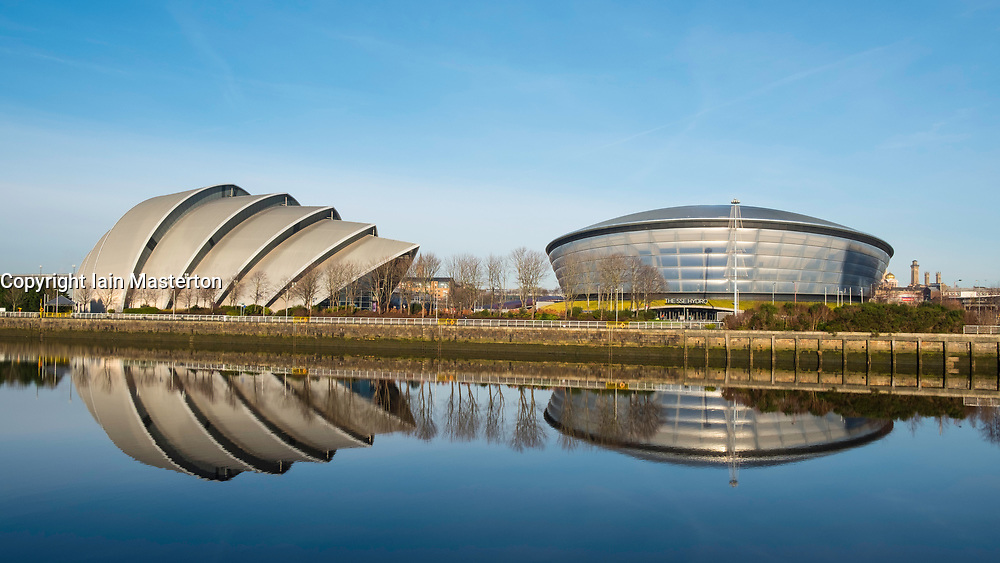 View of SEC Armadillo centre and SSE Hydro arena beside River Clyde in Glasgow , United Kingdom