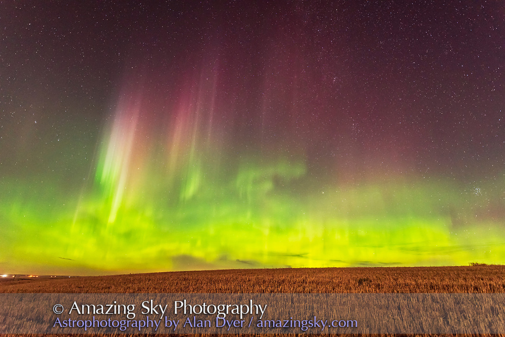 The aurora of September 27, 2017 from home in southern Alberta, in a view looking north toward the main auroral curtain. The Big Dipper is at left. <br /> <br /> This is a single frame from a 700-frame time-lapse. <br /> <br /> This is 4 seconds at f/1.8 with the Sigma 14mm Art lens and Nikon D750 at ISO 2500. <br /> <br /> The setting waxing Moon is providing the foreground illumination.
