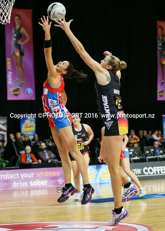 NSW Swift's Sharni Layton and Waikato BOP's Joanne Harten compete for the ball during the ANZ Netball Championship semi final between the Waikato BOP Magic and the NSW Swifts, played at Claudelands Arena, Hamilton, New Zealand on Monday 25 July 2016.  Copyright Photo: Bruce Lim / www.photosport.nz