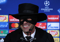 December 7, 2017 - Kharkov, Ukraine - Head coach of FC Shakhtar Paulo Fonseca, dressed as Zorro attends a press conference after victory for his team in the Champions League group F soccer match between FC Shakhtar and Manchester City at Metalist Stadium in Kharkov. Ukraine, Wednesday, December 6, 2017  (Credit Image: © Danil Shamkin/NurPhoto via ZUMA Press)