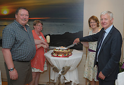 Cutting the celebratory &rsquo;Twimning Cake&rsquo; at the Louisburgh Ireland / Louisbourg Canada twinning event were Michael and Eileen Burke Louisbourg Nova Scotia and Rosarie Tiernan and John Lyons Louisburgh Mayo.<br /> Pic Conor McKeown