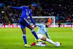 Ilkay Gundogan of Manchester City takes on Wilfred Ndidi of Leicester City - Mandatory by-line: Robbie Stephenson/JMP - 18/12/2018 - FOOTBALL - King Power Stadium - Leicester, England - Leicester City v Manchester City - Carabao Cup Quarter Finals