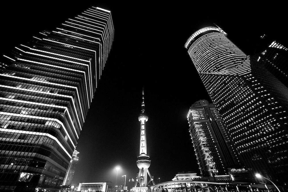 Shanghai skyscaper and Shanghai Oriental Pearl Tower night view