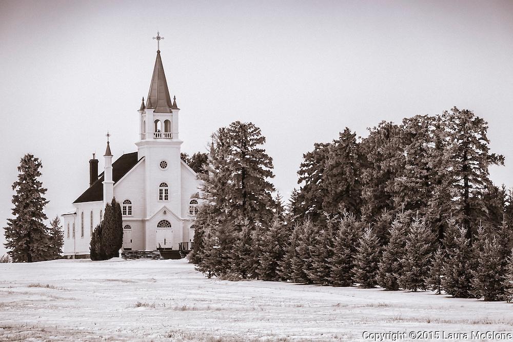 St. Michael's Church in snow, Alberta, Canada
