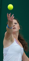 LONDON, ENGLAND - Wednesday, June 29, 2011: Sarah Beth Askew (GBR) in action during the Girls' Doubles 1st Round match on day nine of the Wimbledon Lawn Tennis Championships at the All England Lawn Tennis and Croquet Club. (Pic by David Rawcliffe/Propaganda)