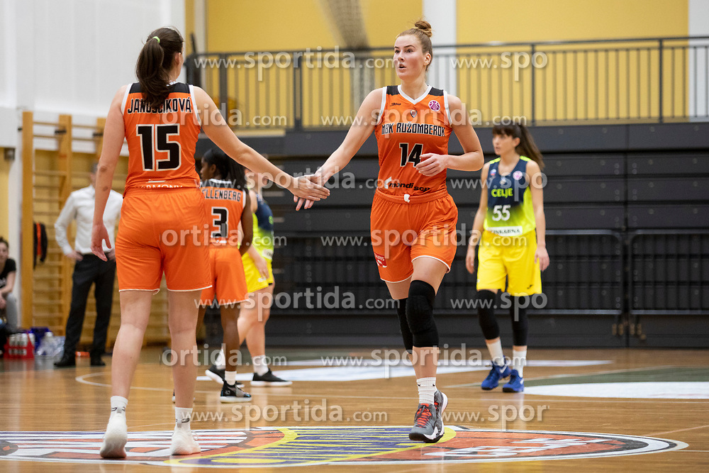 Beata Janoscikova and Egle Siksniute of MBK Ruzomberok in action during basketball match between ZKK Cinkarna Celje (SLO) and MBK Ruzomberok (SVK) in Round #6 of Women EuroCup 2018/19, on December 13, 2018 in Gimnazija Celje Center, Celje, Slovenia. Photo by Urban Urbanc / Sportida