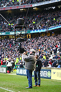 """'Twickenham - Saturday, February 27th, 2010: The Twickenham """"spider cam"""" gets a clean during half time during the RBS Six Nations match between England and Ireland at Twickenham. (Pic by Andrew Tobin/Focus Images)"""