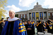 "Chris Matthews, host of ""Hardball"" on MSNBC, leaves the quad after the University of Rochester's Commencement Ceremony on Sunday, May 18, 2014."