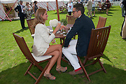 CAMILLA MACKINTOSH; HUGO TAYLOR, Cartier International Polo. Smiths Lawn. Windsor. 24 July 2011. <br /> <br />  , -DO NOT ARCHIVE-© Copyright Photograph by Dafydd Jones. 248 Clapham Rd. London SW9 0PZ. Tel 0207 820 0771. www.dafjones.com.