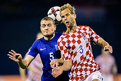 Kyriakos Papadopoulos of Greece and Ivan Strinic of Croatia during the football match between National teams of Croatia and Greece in First leg of Playoff Round of European Qualifiers for the FIFA World Cup Russia 2018, on November 9, 2017 in Stadion Maksimir, Zagreb, Croatia. Photo by Ziga Zupan / Sportida