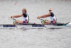 August 5, 2018 - Glasgow, UNITED KINGDOM - 180805 Siri Eva Kristiansen (stroke) and Maia Lund (bow) of Norway compete in the final B of women's lightweight double sculls rowing during the European Championships on August 5, 2018 in Glasgow..Photo: Jon Olav Nesvold / BILDBYRÃ…N / kod JE / 160285 (Credit Image: © Jon Olav Nesvold/Bildbyran via ZUMA Press)