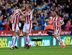 Peter Crouch of Stoke City celebrates after scoring an equaliser for his side (2-2) - Mandatory by-line: Paul Roberts/JMP - 04/11/2017 - FOOTBALL - Bet365 Stadium - Stoke-on-Trent, England - Stoke City v Leicester City - Premier League