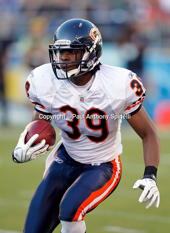 Chicago Bears cornerback Cornelius Brown (39) runs with the ball during a NFL week 1 preseason football game against the San Diego Chargers, Saturday, August 14, 2010 in San Diego, California. The Chargers won the game 25-10. (©Paul Anthony Spinelli)