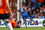 Matt Tubbs of AFC Wimbledon scores the opening goal during the Sky Bet League 2 match at Kenilworth Road, Luton<br /> Picture by David Horn/Focus Images Ltd +44 7545 970036<br /> 16/08/2014