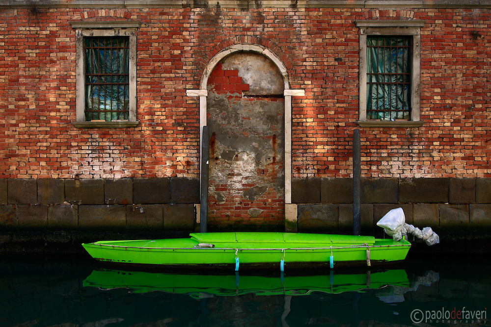 A small, simple scene, featuring some lovely geometry and colours, in a canal in Cannaregio, Venice, Italy.