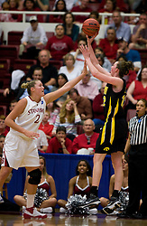 March 22, 2010; Stanford, CA, USA;  Iowa Hawkeyes center Morgan Johnson (12) shoots over Stanford Cardinal forward/center Jayne Appel (2) during the first half in the second round of the 2010 NCAA womens basketball tournament at Maples Pavilion. Stanford defeated Iowa 96-67.