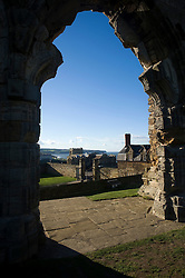 Saint Mary Church Whitby viewed from Whitby Abbey, a Gothic ruined monastery.