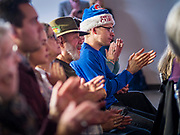 05 DECEMBER 2019 - DES MOINES, IOWA: People applaud during a campaign event with Senator Cory Booker (D-NJ) in Des Moines Friday. Senator Booker is running to be the Democratic nominee for the US Presidency in 2020. Iowa hosts the first selection event of the presidential election season. The Iowa caucuses are February 3, 2020.      PHOTO BY JACK KURTZ