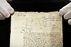 © under license to London News Pictures. (06/12/10) One of 40 letters signed by Queen Elizabeth 1 concerening the imprisonment of Mary Queen of Scots on display ahead of Sotheby's London Sale of Magnificent Books, Manuscripts and Drawings due to take place on 7th Dec 2010, from the collection of Frederick, 2nd Lord Hesketh, The Property of Trustees of the 2nd Baron Hesketh's Will Trust. Photo credit should read: Olivia Harris/ London News Pictures