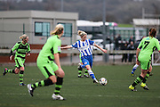 Brighton's Kirsty Barton takes a shot during the FA Women's Premier League match between Forest Green Rovers Ladies and Brighton Ladies at the Hartpury College, United Kingdom on 24 January 2016. Photo by Shane Healey.