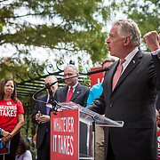 "Virginia Governor, Terry McAuliffe speaks at a rally organized to support victims of gun violence and pressure politicians to do ""whatever it takes"" to prevent gun violence.  Andy Parker, made his first visit to Washington, D.C. since his daughter, WDBJ_TV reporter, Alison Parker, was shot and killed on live television near Roanoke, VA last week.  The rally, organized by Everytown for Gun Safety, brought Parker together with Virginia Senators, Mark Warner, Tim Kaine and Virginia Governor, Terry McAuliffe near the United States Capitol, on Thursday, September 10, 2015.  John Boal/for The New York Daily News"