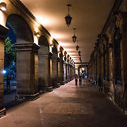A walkway along one of the buildings rimming the Zocalo. Formally known as Plaza de la Constitución, the Zocalo is the historic heart of Mexico City.