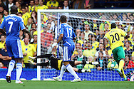 Jose Bosingwa of Chelsea opens the scoring and celebrates during the Barclays Premier League match at Stamford Bridge stadium, London...Picture by Paul Chesterton/Focus Images Ltd.  07904 640267.27/8/11