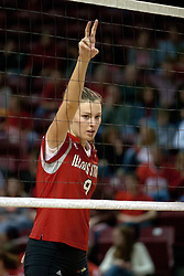 06 November 2004....Emily Kabbes makes the play call.....Illinois State University Redbirds V SouthWest Missouri State University Bears Volleyball.  Redbird Arena, Illinois State University, Normal IL..Illinois State Redbirds v Southwest Missouri State