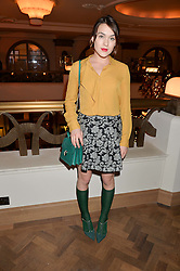ELLA CATLIFF at the unveiling of a Very Special Malone Souliers Christmas Tree, In Support Of Starlight Children's Foundation held at The Club Cafe Royal, Regent Street, London on 2nd December 2015.