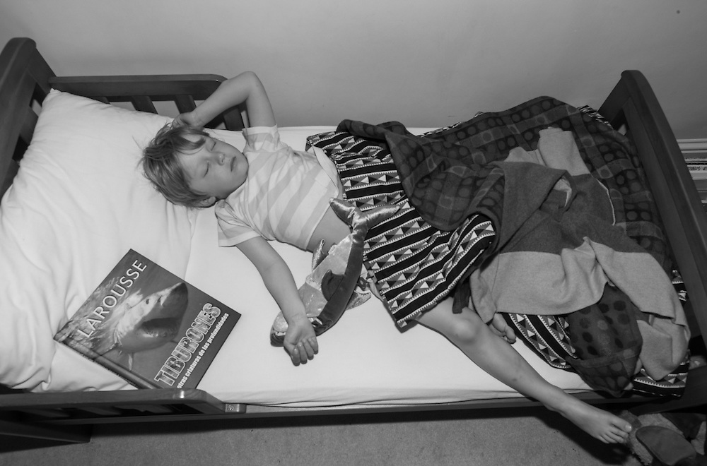 Ben falls asleep with his favourite book on the topic of sharks in his room in Berkhamsted in England Sunday, May 24, 2015 (Elizabeth Dalziel) #thesecretlifeofmothers #bringinguptheboys #dailylife