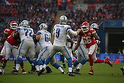 Detroit Lions Matthew Stafford prior to getting sacked during the Kansas City Chiefs v Detroit Lions  NFL International Series match at Wembley Stadium, London, England on 1 November 2015. Photo by Matthew Redman.