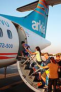 Israel, Ben Gurion International airport, passengers boarding an Arkia Airlines ATR 72 Propellor aeroplane