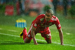 TRABZON, TURKEY - Thursday, August 26, 2010: Liverpool's David Ngog is left in a puddle against Trabzonspor during the UEFA Europa League Play-Off 2nd Leg match at the Huseyin Avni Aker Stadium. (Pic by: David Rawcliffe/Propaganda)