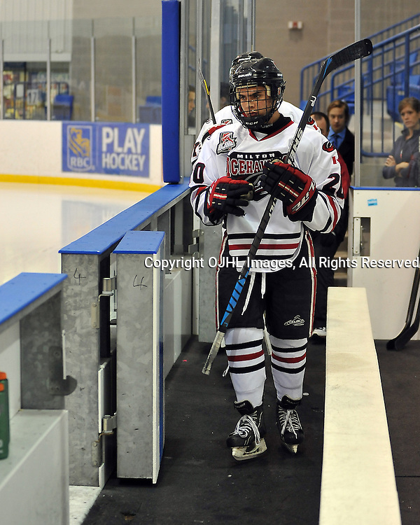 OAKVILLE, ON - Sep 6 : Ontario Junior Hockey League game between Milton Icehawks and Oakville Blades. Opening night of the 2013/2014 season. #20 of the Milton Icehawks during the pre-game warm-up.<br /> (Photo by Shawn Muir / OJHL Images)