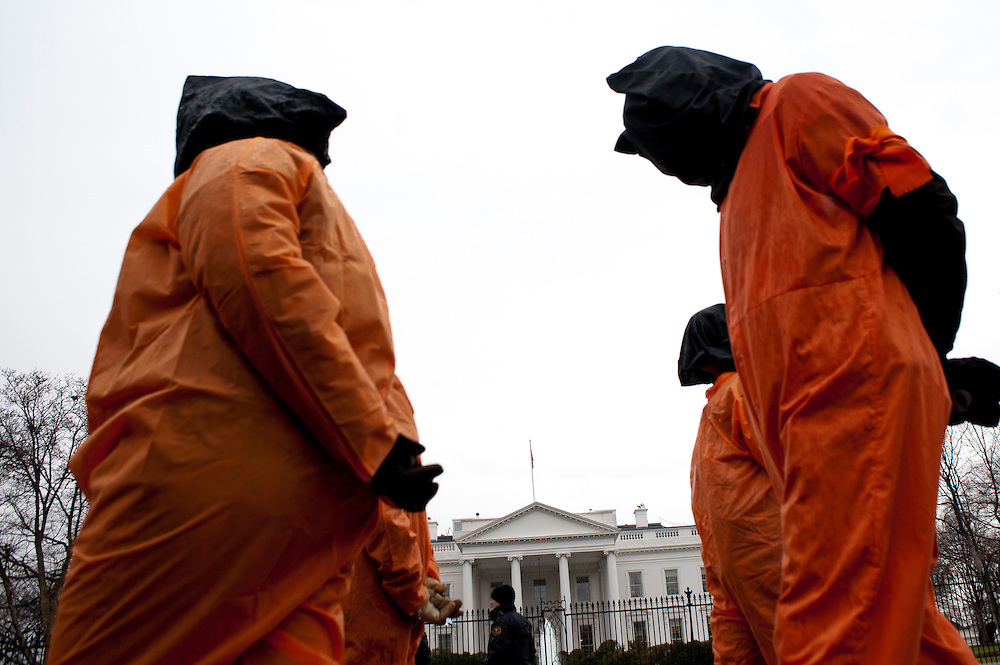 Protestors rally in front of the White House in Washington, D.C. to demand that President Obama keep his promise and shut down the U.S. controlled detention center at Guantánamo Bay, Cuba. ..January 11, 2012, marks 10 years since the first detainees were transferred to Guantánamo. According to U.S. authorities, 779 detainees have been held in Guantánamo, the vast majority without being charged or granted a criminal trial. Presently there are 171 prisoners held there.