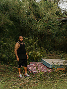 "Michael Foye and his wife left two days before Hurricane Florence hit. He said he debated staying but his wife convinced him to leave. After dumping soaked mattresses in his back yard Foye commented on how he had kept it so clean until now. ""Ain't no telling what's under there now,"" he said."