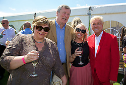 LIVERPOOL, ENGLAND - Friday, June 20, 2014: Liverpool hairdresser Herbert with friends enjoy the corporate hospitality during Day Two of the Liverpool Hope University International Tennis Tournament at Liverpool Cricket Club. (Pic by David Rawcliffe/Propaganda)