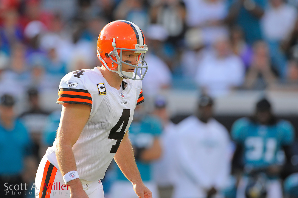 Cleveland Browns place kicker Phil Dawson (4) during the Browns game against the Jacksonville Jaguars at EverBank Field on Nov. 21, 2010 in Jacksonville, Florida...©2010 Scott A. Miller