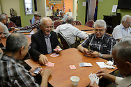 Iraqi refugees play cards, backgammon and socialize at an EMASS/UPAC community center. Older refugees have a difficult time adjusting to their new life in the United States. It is often too late for them to start over again professionally, it is more difficult for them to learn the language, to adopt to a new culture and they remain attached to the life and community that they had to leave behind in Iraq, especially the social life with their family, neighbors and friends. As a result, refugees of an older generation often feel marginalized and useless. El Cajon, CA, USA. 01/05/2013.