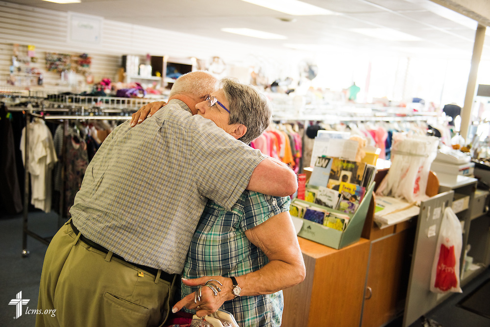 Manager Betty Strelow hugs volunteer Edward Vorpagel as he prepares to leave Blessed Again Resale on Wednesday, Sept. 2, 2015, in Milwaukee, Wis. The resale shop benefits A Place of Refuge maternity home. LCMS Communications/Erik M. Lunsford