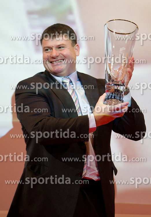 Best coach Andrej Hajnsek   with his Athlete-coach  of the Year Award during the Slovenia's Athlete awards ceremony by Slovenian Athletics Federation AZS, on November 12, 2008 in Hotel Mons, Ljubljana, Slovenia.(Photo By Vid Ponikvar / Sportida.com) , on November 12, 2010.