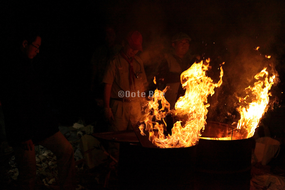 new years night bonfire offering ceremony called Otaki Age burning of year old effigy  Japan