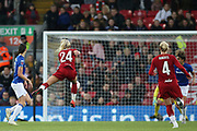 Liverpool women forward Kirsty Linnett (24) shoots at goal during the FA Women's Super League match between Liverpool Women and Everton Women at Anfield, Liverpool, England on 17 November 2019.