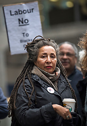 © Licensed to London News Pictures. 22/01/2018. London, UK. Former vice-chair Jackie Walker JACKIE WALKER Joins the campaign group LAW (Labour Against the Witch-hunt) outside Labour Party headquarters ahead of an NEC (National Executive Committee) meeting. The group are campaigning against the suspension of party members over  alleged antisemitism. Photo credit: Ben Cawthra/LNP