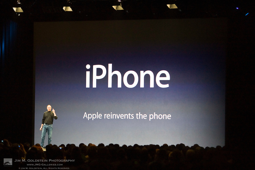 Steve Jobs announces the iPhone during his Keynote speech at the 2007 MacWorld Expo.
