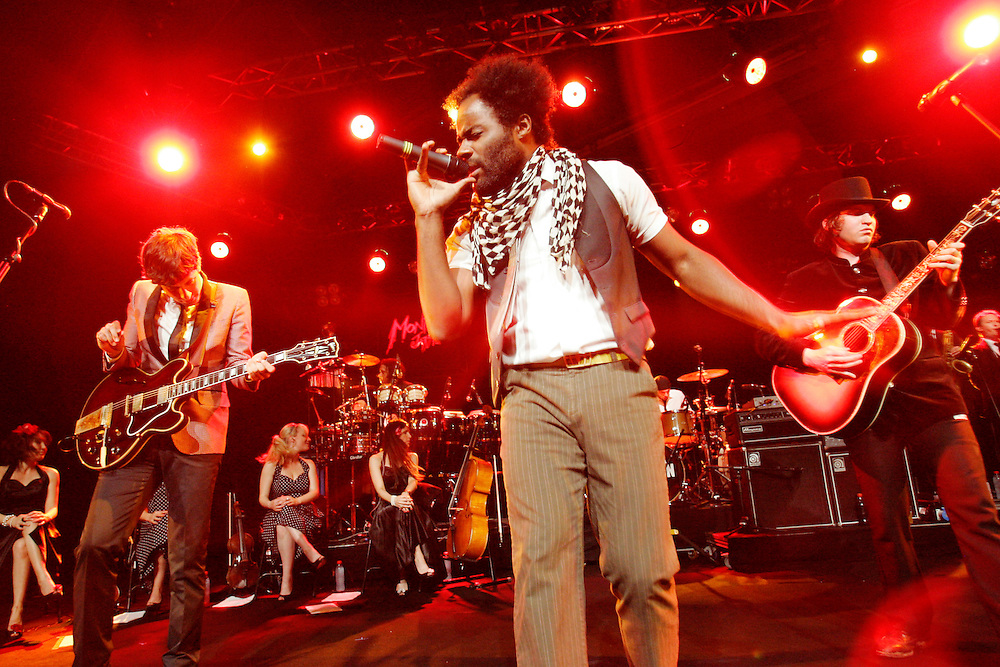 Mark Ronson, Kurt Hunte and Michael Tighe, performing at the 42nd Montreux Jazz Festival, Switzerland.